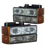1998 Chevy 1500 Pickup Smoked Angel Eyes Halo Projector Headlights Set