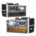 Chevy 3500 Pickup 1994-1998 Black Halo Headlights and LED Bumper Lights