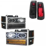 1996 Chevy 1500 Pickup Black Halo Headlights LED DRL and LED Tail Lights