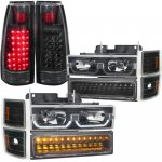 1998 Chevy 3500 Pickup Black LED DRL Headlights Set and LED Tail Lights