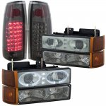 1999 Chevy Suburban Smoked Halo Projector Headlights and LED Tail Lights