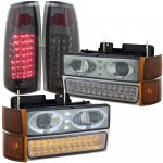1995 GMC Yukon Smoked Halo Headlights LED DRL and LED Tail Lights