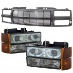 Chevy Suburban 1994-1999 Black Billet Bar Grille Smoked Halo Projector Headlights LED Set