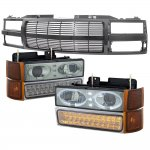 Chevy Suburban 1994-1999 Black Billet Grille Smoked Halo Projector Headlights LED Bumper Lights