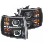 2007 Chevy Silverado 2500HD Black Halo LED DRL Projector Headlights