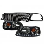 1999 Ford F150 Black Vertical Grille LED DRL Headlights Black Smoked