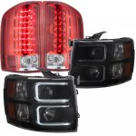 Chevy Silverado 3500HD 2007-2014 Black Smoked DRL Projector Headlights and Red LED Tail Lights