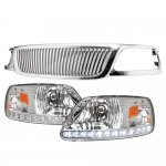 1999 Ford F150 Chrome Vertical Grille LED DRL Headlights