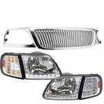 1999 Ford F150 Chrome Vertical Grille LED DRL Headlights LED Signal Lights