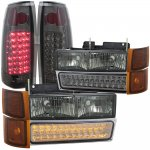 1998 Chevy 3500 Pickup Smoked Headlights LED DRL and LED Tail Lights