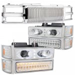 Chevy Suburban 1994-1999 Chrome Vertical Grille Halo Projector Headlights LED Bumper Lights