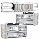 1999 GMC Sierra 3500 Chrome Vertical Grille Headlights Bumper Lights