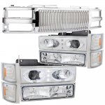 GMC Sierra 3500 1994-2000 Chrome Vertical Grille Halo Projector Headlights LED Set