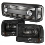 2001 Ford Excursion Black Grille Lights Smoked Headlights Set