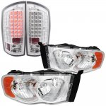2002 Dodge Ram Chrome Headlights and LED Tail Lights