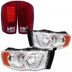 Dodge Ram 2002-2005 Clear Headlights and LED Tail Lights Red Clear