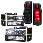 Chevy 1500 Pickup 1988-1993 Black Halo Projector Headlights and LED Tail Lights