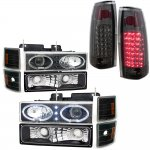 1988 Chevy Silverado Black Halo Projector Headlights Smoked LED Tail Lights