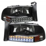 2002 Dodge Durango Black Smoked Headlights LED DRL Signal Lights
