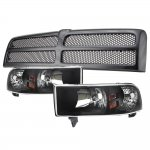 Dodge Ram 1994-2001 Black Grille and Euro Headlights Conversion