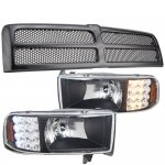 Dodge Ram 1994-2001 Black Grille and Headlights LED Signal Lights