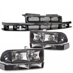 2002 Chevy S10 Black Grille and Black Clear Headlights Set