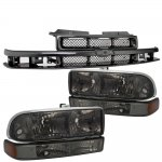 2002 Chevy S10 Black Grille and Smoked Headlights Set