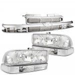 2002 Chevy S10 Chrome Grille and Clear Headlights Set