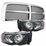 Dodge Ram 2002-2005 Chrome Grille Black Insert and Black Clear Headlights