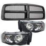 Dodge Ram 2002-2005 Black Grille and Black Clear Headlights
