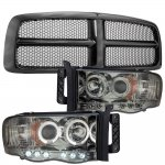 Dodge Ram 2002-2005 Black Grille Smoked Halo Projector Headlights LED