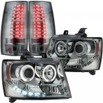Chevy Suburban 2007-2014 Smoked Halo Projector Headlights and LED Tail Lights