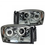 Dodge Ram 3500 2006-2009 Smoked Dual Halo Projector Headlights with LED