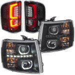 2007 Chevy Silverado Black Halo DRL Projector Headlights Red Optic LED Tail Lights