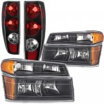 GMC Canyon 2004-2012 Black Headlights Set and Tail Lights