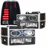 1996 Chevy 1500 Pickup Black Halo Projector Headlights Black Out LED Tail Lights