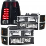 Chevy Silverado 1988-1993 Black Headlights Set Black Out LED Tail Lights