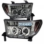 2011 Toyota Tundra Smoked Dual Halo Projector Headlights with LED