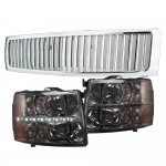 Chevy Silverado 2007-2013 Chrome Grille and Smoked Headlight LED DRL