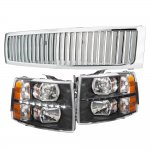Chevy Silverado 2007-2013 Chrome Grille and Black Headlight Set LED DRL