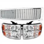 2007 Chevy Silverado Chrome Vertical Grille and Headlights set