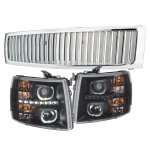 2007 Chevy Silverado Chrome Vertical Grille Black Halo LED DRL Projector Headlights