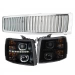2007 Chevy Silverado Chrome Vertical Grille Black Smoked Halo LED DRL Projector Headlights