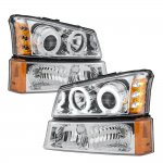 Chevy Silverado 3500HD 2003-2006 Clear Dual Halo Projector Headlights and Bumper Lights