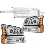 2004 Chevy Silverado 1500HD Chrome Billet Grille Halo Projector Headlights and Bumper Lights Set