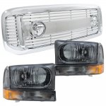2002 Ford F250 Super Duty Chrome Grille and Smoked Headlight Set