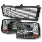 2001 Chevy Silverado Black Grille and Smoked LED DRL Projector Headlight Conversion