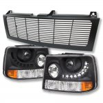 2001 Chevy Silverado Black Grille and LED DRL Projector Headlight Conversion