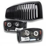 Dodge Ram 2500 2006-2009 Black Vertical Grille and Projector Headlights Set