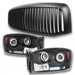 Dodge Ram 2006-2008 Matte Black Vertical Grille and Projector Headlights Set